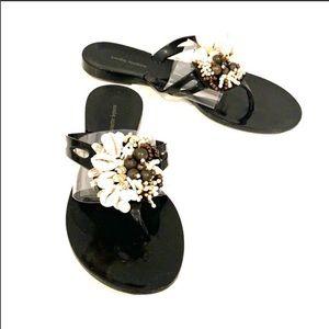 NANETTE LEPORE Shell Black Jelly Sandals Size 5